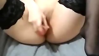 Masturbate with dildo in period. Orgasm with tampon in stockings