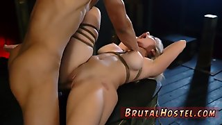 Two slaves feet and anal dildo domination Big-breasted blond