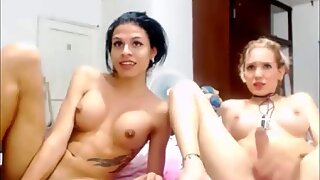 Blonde and Brunette Trannies Giving a Spectacular Webcam Show
