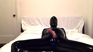 Loud latex cum, bare cock, with a dildo in my ass