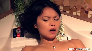 Tiny Asian Has Big Wet Orgasm