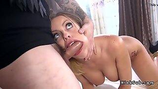 Gagged busty blonde fucked in hairy pussy