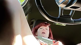 Hot MILF Red Head Was Edging All Day at Work and Had to Go Cum in Her Car