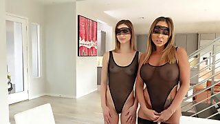 Two dildos for teen Ana and Milf Aubrey
