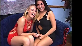 London and Natalie give a double POV blowjob