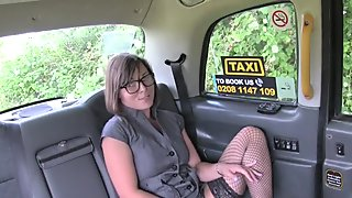 Lesbians fucking dildo in fake taxi