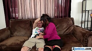 Brunette Step Mom Blowjob Riding Step Sons Cock