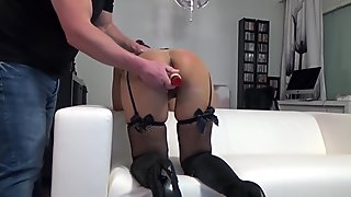 Getting fucked with a dildo from behind while masturbating with a vibrator