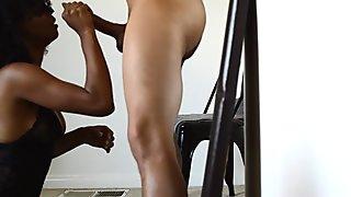 Black wife deepthroats and gag on dildo then husband