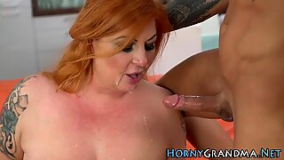 Mature skank sucks dick