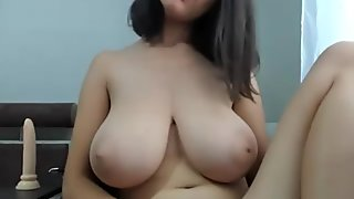 Lustful Huge Natural Tits Cammodel Dildo Fucks Herself