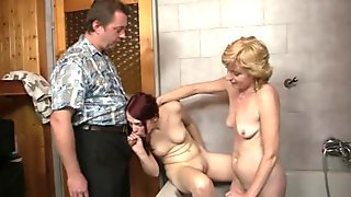 Old blonde mom toying her young cunt before threesome