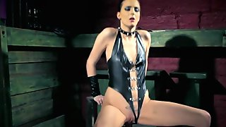 European mistress riding dildo in solo scene