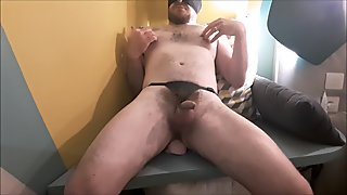 Fucking a straight guy's ass and making him cum in a hotel room - big dildo