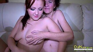 OldNannY Old Mature and Teen Lesbian Masturbation